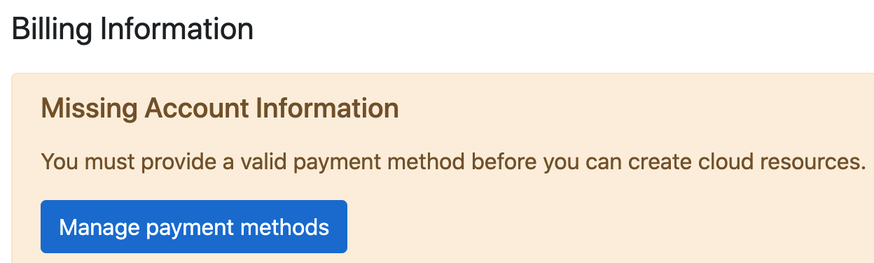 Missing Payment Method warning